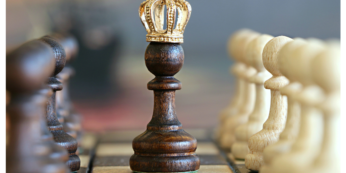 Chess board. Black pawn in middle wearing a crown.